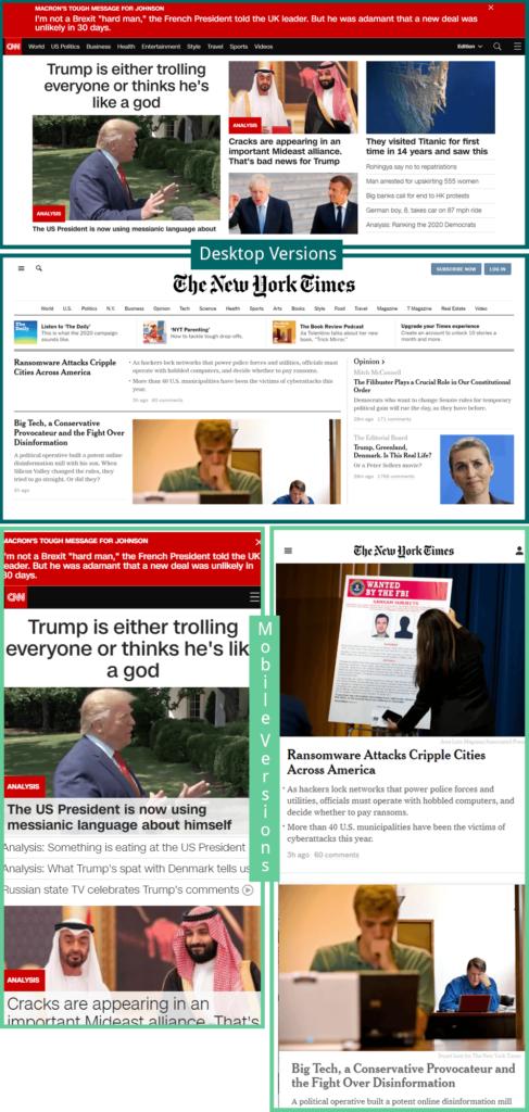 UX Battle: Desktop vs. Mobile Screenshot Frontpages CNN and NYT