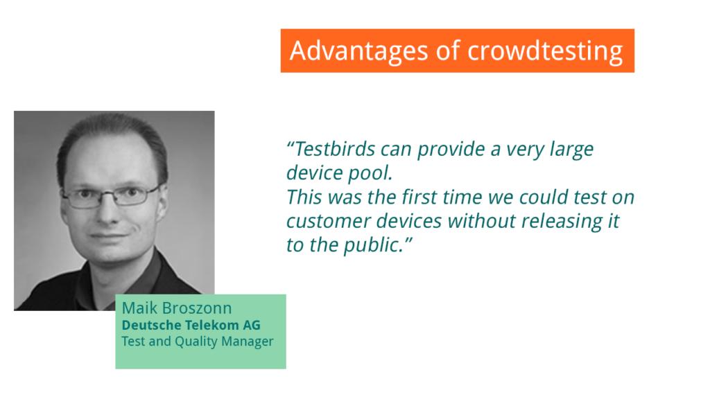 Quote about Crowdtesting from Deutsche Telekom