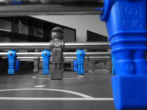 Foosball Table BnW and Blue